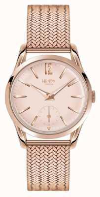 Henry London Womans rosa quadrante in oro rosa placcato oro cinturino in maglia HL30-UM-0164