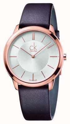 Calvin Klein Mens minimo cinturino in pelle marrone K3M216G6