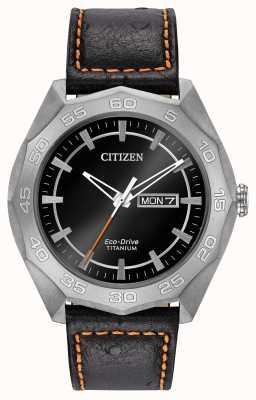 Citizen Mens cassa in titanio cinturino in pelle nera quadrante nero AW0060-03E