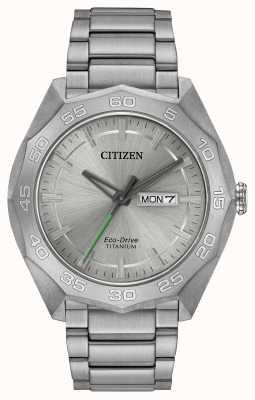 Citizen Quadrante argentato del braccialetto del titanio dell'uomo AW0060-54A