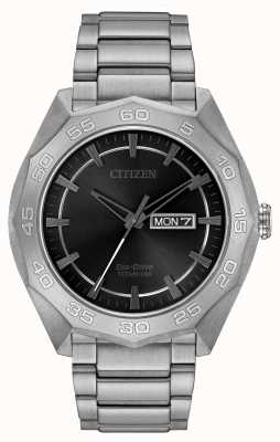 Citizen Mens bracciale in titanio quadrante nero AW0060-54H