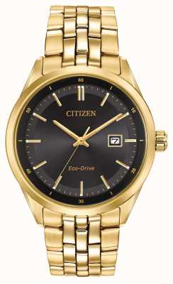 Citizen Mens PVD oro braccialetto placcato quadrante nero BM7252-51E