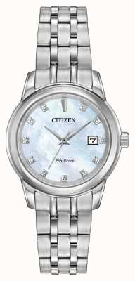 Citizen Womens 11 diamante in acciaio bracciale in madreperla EW2390-50D