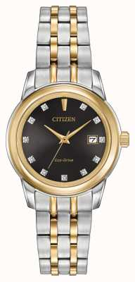 Citizen Womens 11 diamante dell'acciaio inossidabile di due toni EW2394-59E