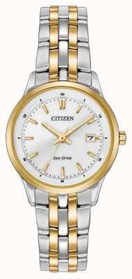 Citizen Womens due toni quadrante bianco cinturino in acciaio inossidabile EW2404-57A