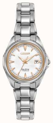 Citizen Womens bracciale in titanio quadrante bianco EW2410-54A