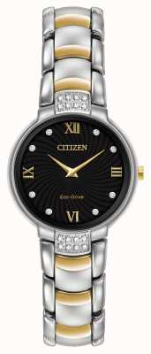 Citizen Womens 24 diamante due toni bracciale quadrante nero EX1464-54E