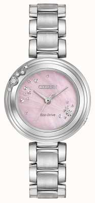 Citizen Womens Eco-Drive a sei diamanti quadrante rosa WR50 EM0460-50N