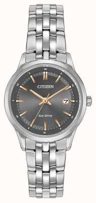 Citizen Signore orologio in acciaio inossidabile con vetro zaffiro EW2400-58H