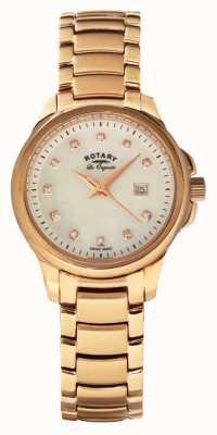Rotary Womans rosa quadrante cinturino perla placcato oro LB90120/41