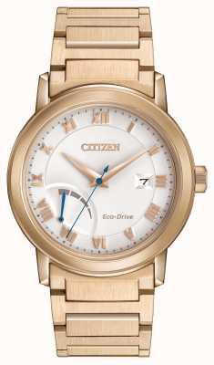 Citizen placcato in oro Mens eco-drive di riserva di carica braccialetto AW7023-52A