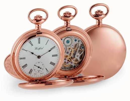 Woodford Doppia cacciatore oro rosa orologio da tasca meccanico 1093