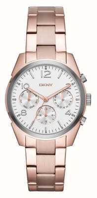 DKNY Womans rosa placcato oro quadrante del cronografo bianco cinghia di metallo NY2472