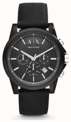 Armani Exchange Cinturino cronografo nero con cinturino in silicone nero da uomo AX1326