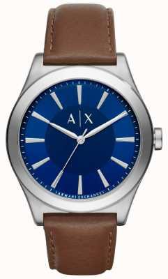 Armani Exchange Mens cinturino in pelle marrone quadrante blu cassa in acciaio AX2324