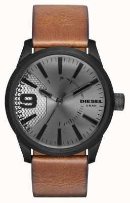 Diesel Mens quadrante silver cinturino in pelle marrone cassa nera DZ1764