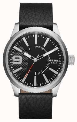 Diesel Mens caso d'argento quadrante nero cinturino in pelle nera DZ1766