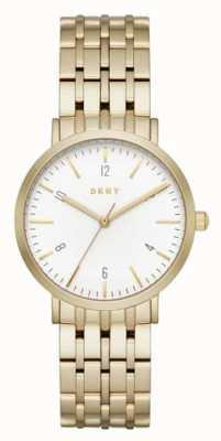 DKNY Womans acciaio inox cinturino in maglia oro quadrante rotondo bianco NY2503