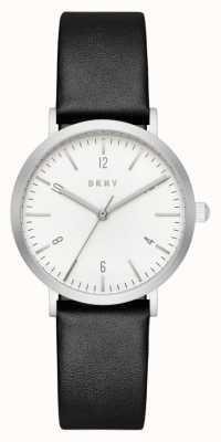 DKNY Womans cinturino in pelle nera tondo quadrante bianco NY2506