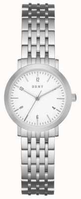 DKNY Womans acciaio inox argento cinturino in maglia quadrante rotondo bianco NY2509