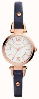 Fossil Cassa placcata oro rosa con cinturino in pelle blu sottile ES4026
