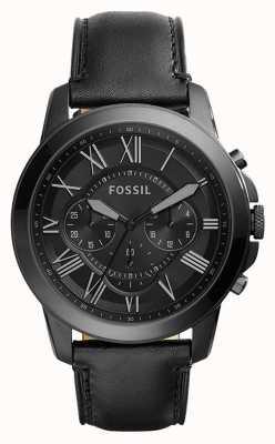 Fossil Quadrante cronografo nero con cinturino in pelle nera da uomo FS5132