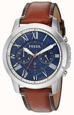 Fossil Mens cinturino in pelle marrone quadrante blu cassa in acciaio FS5210