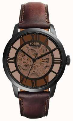 Fossil cinturino in pelle marrone scuro Mens quadrante rotondo marrone ME3098