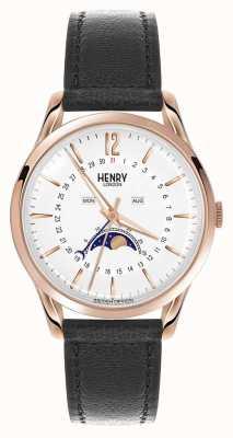 Henry London Richmond cassa in oro rosa cinturino in pelle nera HL39-LS-0150