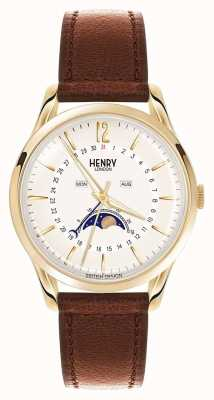 Henry London cassa in oro Westminster cinturino in pelle marrone HL39-LS-0148