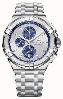 Maurice Lacroix Mens Aikon quadrante argento braccialetto in acciaio inox AI1018-SS002-131-1