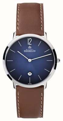 Michel Herbelin Mens Ikone cinturino in pelle marrone quadrante blu Grande 19515/15