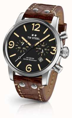 TW Steel Mens quadrante nero Maverick cinturino in pelle marrone cronografo MS3