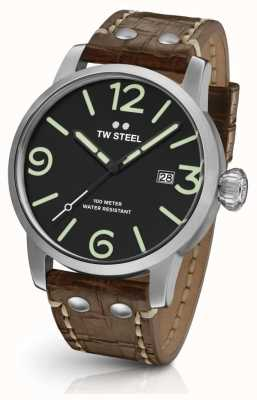 TW Steel Mens quadrante nero cinturino in pelle marrone Maverick MS11