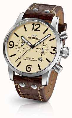TW Steel Mens Maverick cronografo quadrante marrone crema cinturino in pelle MS23