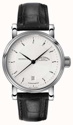 Muhle Glashutte Teutonia ii cronometro quadrante cinturino in pelle argento M1-30-45-LB