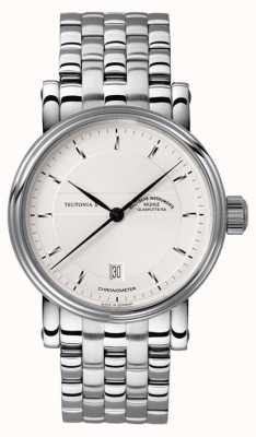 Muhle Glashutte Teutonia ii cronometro quadrante fascia d'argento in acciaio inox M1-30-45-MB