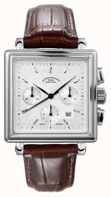 Muhle Glashutte Teutonia II quadrante quadrante del cronografo cinturino in pelle argento M1-33-35-LB