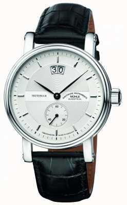 Muhle Glashutte Teutonia ii grossdatum quadrante cinturino in pelle argento cronometro M1-33-75-LB