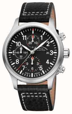 Muhle Glashutte Terrasport i cronografo banda quadrante nero in pelle M1-37-74-LB