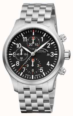 Muhle Glashutte Terrasport i cronografo quadrante nero banda in acciaio inossidabile M1-37-74-MB