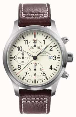 Muhle Glashutte Terrasport i cronografo in pelle quadrante crema banda M1-37-77-LB