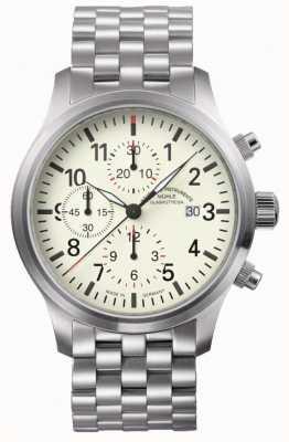 Muhle Glashutte Terrasport i cronografo cinturino in acciaio inossidabile quadrante color crema M1-37-77-MB