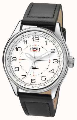 Limit pilota Mens quadrante bianco cinturino nero 5616.01
