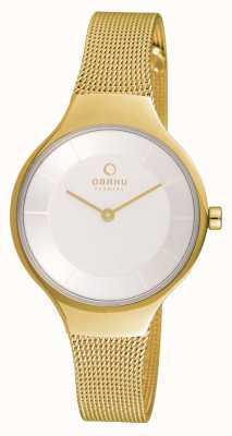 Obaku Womans cassa in oro in oro quadrante bianco cinturino in maglia V166LXGIMG