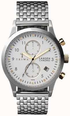 Triwa Mens avorio Lansen cinturino in maglia d'argento cronografo bianco LCST106-BR021212