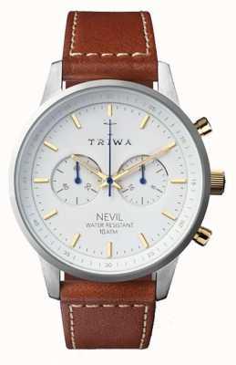 Triwa Mens snow nevil marrone cinturino in pelle marrone bianco NEST115-SC010215