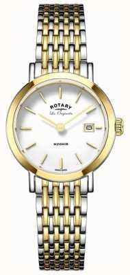 Rotary Womans Windsor due toni cinghia di metallo argento oro LB90154/01