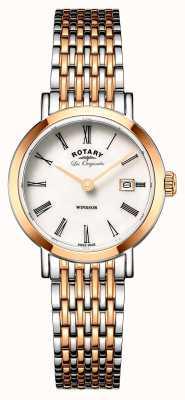 Rotary Womans Windsor due d'argento di tono rosa cinturino in metallo oro LB90155/01
