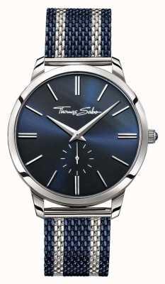 Thomas Sabo Mens spirito ribelle due toni cinturino in maglia di acciaio quadrante blu WA0268-281-209-42